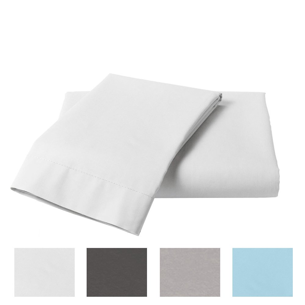 400 Thread Count 100% Cotton Duvet Cover Set, Durable and Fade Resistant, Ultra Soft, Zipper Closure, Full/Queen, White Solid
