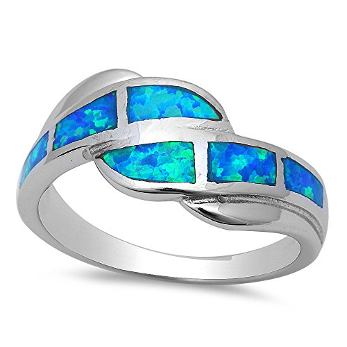 Sterling Silver Lab Created Blue Opal Inlay Ring - Size 6 sro16342-bo ()