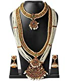 Fashion205 Red And Green Brass Atelier Long Haaram Necklaces And Earrings For Women