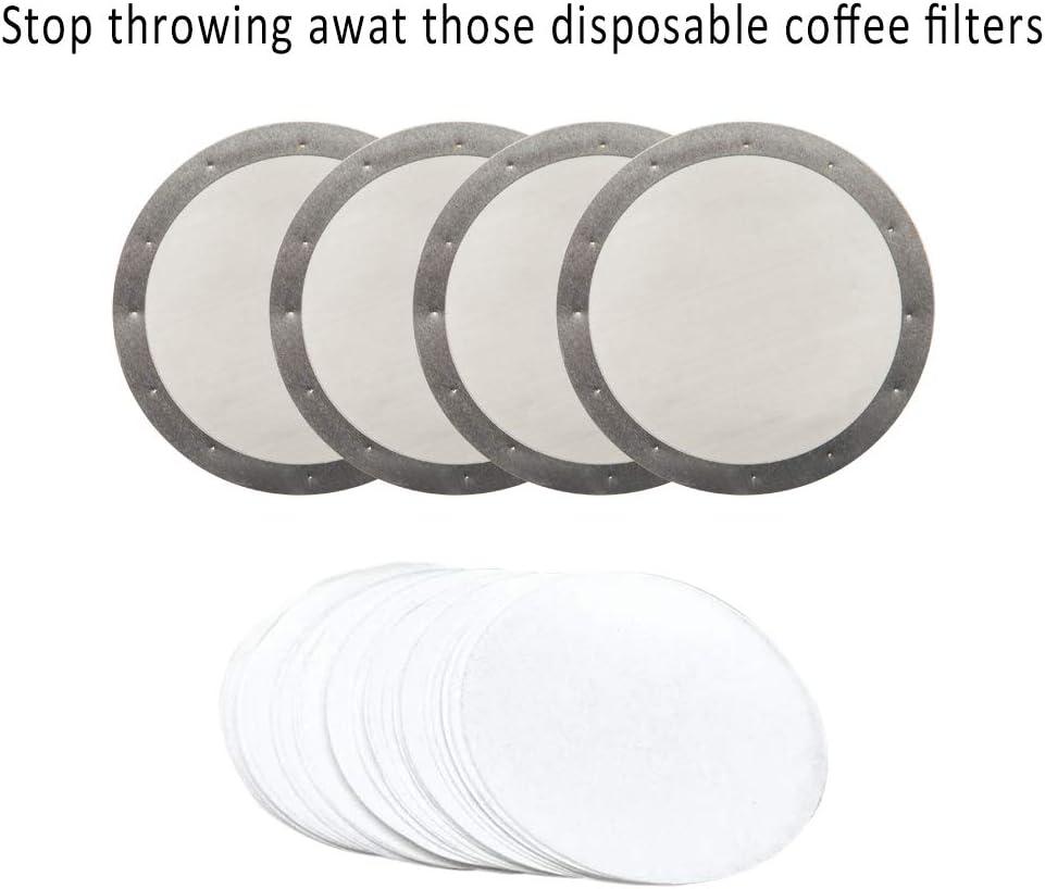 SourceTon Lot de 4 filtres /à caf/é r/éutilisables en acier inoxydable pour cafeti/ères Aeropress