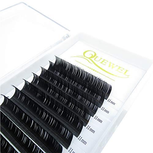 Quewel lash Premium C Curl 0.10 Thickness 11mm Eyelash Extensions Individual Natural Semi Permanent EyeLashes Soft Application-friendly Mink Lashes (Salon Perfect Use) (0.10 C Curl, 11mm)