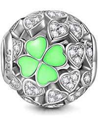 Lucky Clover 925 Sterling Silver Heart Shape Clovers Beads Great for Necklace Jewelry, Lucky Charms with Exquisite Package