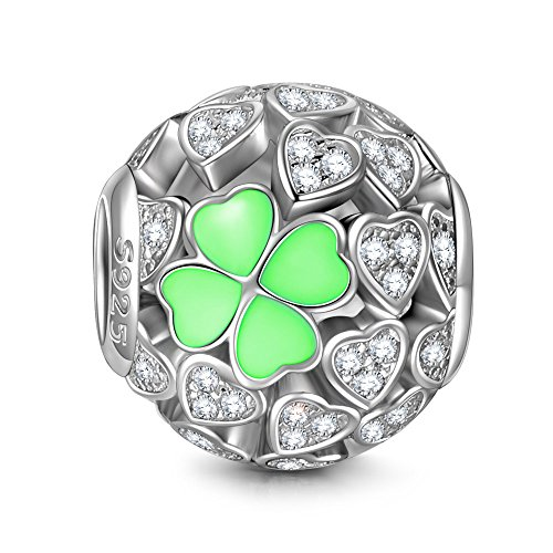 NINAQUEEN Lucky Clover Silver Heart Mint Clovers Openwork Bead Charms for Pandöra Bracelets Jewelry Making Birthday Anniversary Women Gifts for Her Wife Girlfriend Daughter Teen Girls Kids