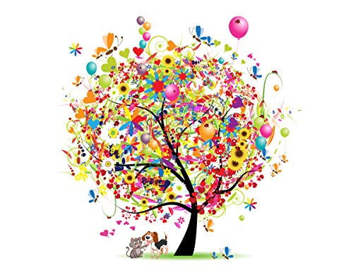Party Tree With Dog & Cat Friends Fine Art Photo - 11x14 Unframed Art Print - Makes a Great Party Gift or Nursery or Wall Art for Both Boys and Girls - Gift Under $25
