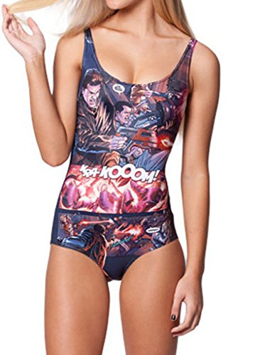 Women Bikini Mass Effect Digital Print One Piece Swimsuit Bodysuit Swimwear