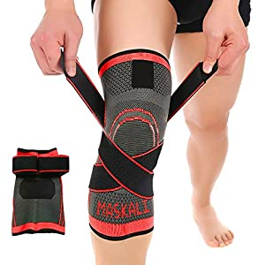 Adjustable Athletics Knee Brace Compression Sleeve by Maskali - Support for all sports - Joint Pain Relief and Improve your Performance-Single Wrap (Large, Red)