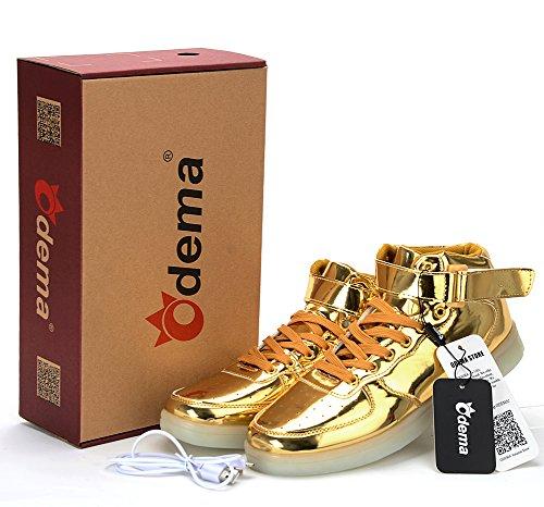 Odena Unisex LED Schuhe High Top Leuchten Turnschuhe für Frauen Männer Mädchen Jungen Größe 4,5-13 Gold