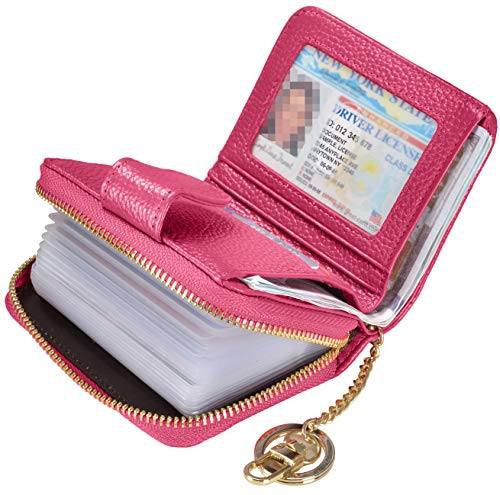 Beurlike Women's RFID Credit Card Holder Organizer Case Leather Security Wallet Upgrade B (20 PVC/Key Ring) - Rose