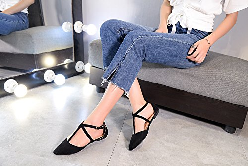 T Ankle Pointed Mila Laurel D'Orsay New Toe Lady Wrap Womens Fashion Black Strap Flats Xwqzqx0HT