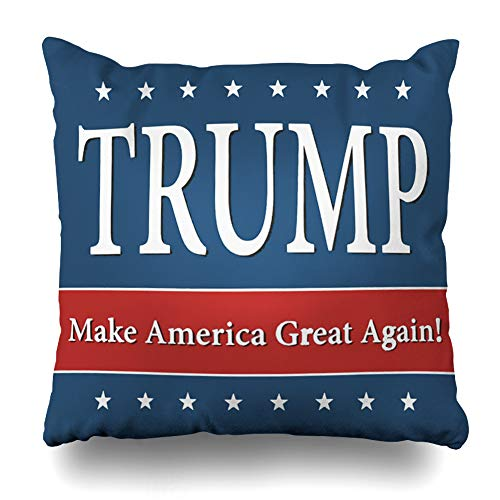 (Ahawoso Throw Pillow Covers Trump Make America Great Again Pillowslip Square Size 16 x 16 Inches Cushion Cases Pillowcases)