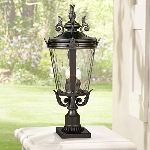 """Casa Marseille Traditional Outdoor Post Light with Pier Mount Textured Black 29"""" Clear Hammered Glass for Patio Porch Garden Yard - John Timberland"""