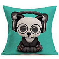 """YANGYULU Pillow Covers Cute Baby Animals Kitten Cotton Linen Decorative Throw Pillow Cases Square Cushion Cover for Home Sofa 18"""" x 18"""""""