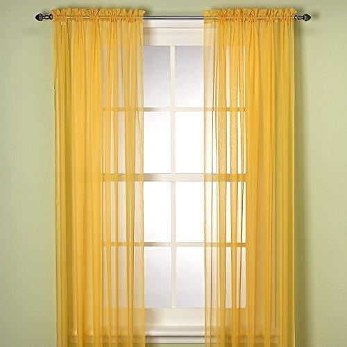 Grace Comfort 2 Piece Solid Yellow Sheer Panel Curtain Set 60″ X 84″ Window Treatment