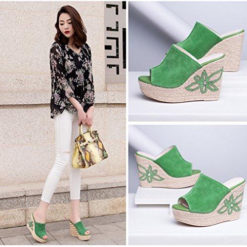 pantofole Shop sandali Wei Size da Sandali 11 con Sandali estivi Green Brown Meng tacco pantofole 38 Nuovi Pantofole alto Color estivo cm da estive e donna altezza donna x5XCdwqt