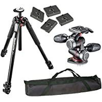 Manfrotto MT055XPRO3 Aluminium 3-Section Tripod Kit w/ MHXPRO3W X-PRO 3-Way Head - International Version (Calumet 1-Year Warranty), Four Replacement Quick Release Plates Carry Case