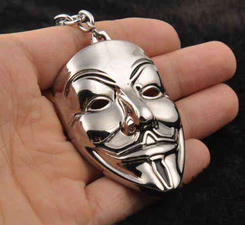 Silver V Mask Metal Keyring Keychain - Legends Of India Hong Kong