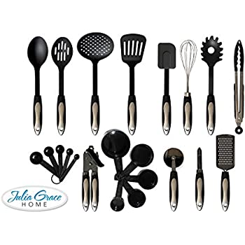 Captivating 22 Piece Kitchen Utensils Set From Julia Grace Kitchen | Home Cooking Tools  U0026 Gadgets | Spatulas, Turners, Tongs, Pizza Cutter, Can Opener, Whisk,  Grater, ...