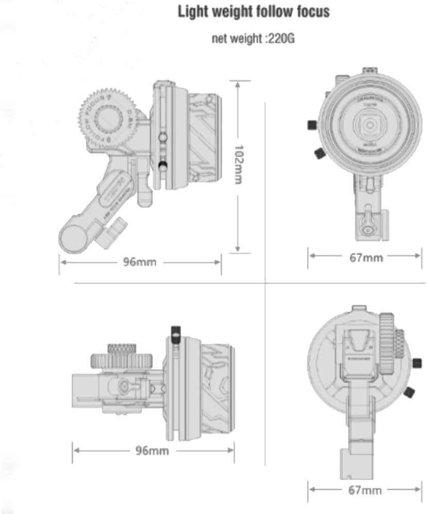 Tilta FF-T06 Follow Focus Wireless Control System Compatible with BMPCC Gimbal DJI Ronin S Zhiyun Crane 2 DSLR Nucleus N
