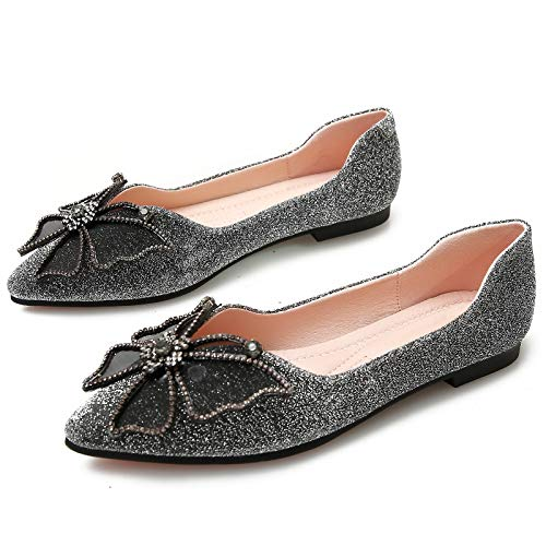 ladies pointed single work shoes flat comfortable Black bottom Soft shoes shoes non slip FLYRCX XUwg6q7
