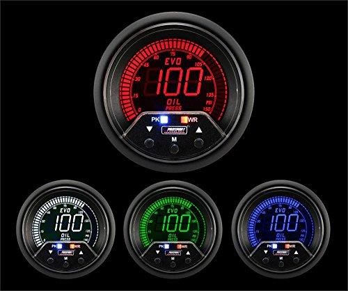 Prosport Universal 52mm Premium Evo Electrical Oil Pressure Gauge Red/White/Blue/Green