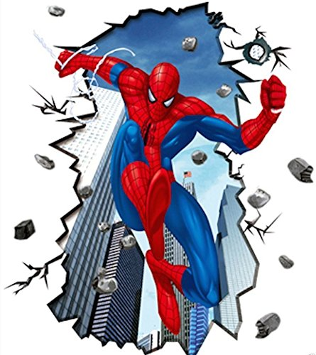 Giant Superman Spiderman 3D Wall Sticker for Kids Rooms Wall Adhesive Home Decor Wall Decals