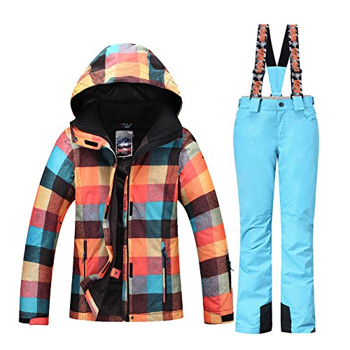 HOTIAN Snowboard Jacket Womens High Windproof Technology Colorful Ski Jacket Pants Set (White Womens Snowboarding Pants)