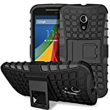 Fosmon® Motorola Moto G (2nd Gen, 2014) Case (HYBO-RAGGED) Detachable Hybrid Tough Dual Layer Case Cover Shell with Kickstand for Motorola Moto G (2nd Gen, 2014) - Fosmon Retail Packaging (Black)
