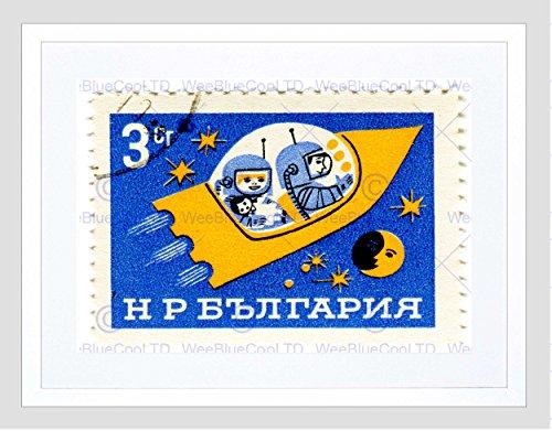 STAMP BULGARIA 3 THREE STOTINKI SPACESHIP MOON STAR SPACE ART PRINT B12X10012