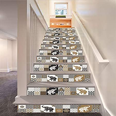 libby-nice Retro Marruecos Elefante Escaleras Decoración 3D Sticker Art Home Decor Mural 6 Unids/Set 18Cm X 100Cm: Amazon.es: Hogar