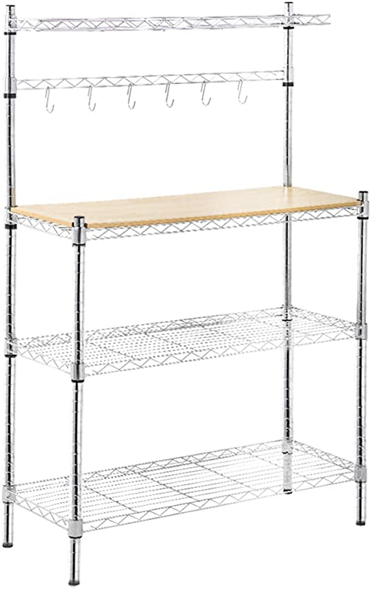 Metal Baker\'s Rack Organizer Stand Shelf Kitchen Microwave Cart Storage  Countertop Dorm Microwave Stand Kitchen Storage Shelving with Cutting Board  ...