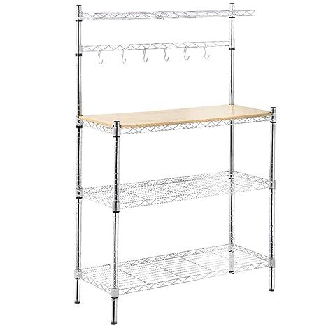 Amazon.com: Bakers rack con tabla de cortar y almacenamiento ...