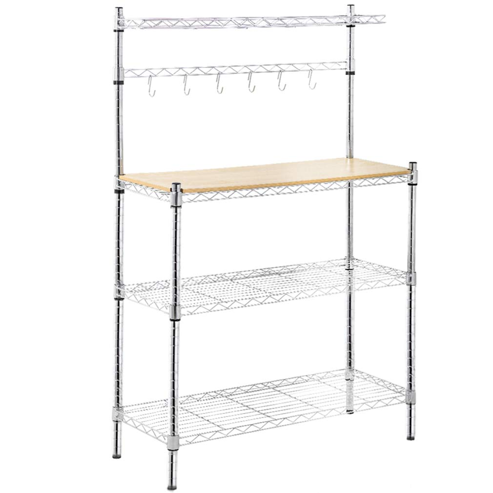 Metal Baker's Rack Organizer Stand Shelf Kitchen Microwave Cart Storage Countertop Dorm Microwave Stand Kitchen Storage Shelving with Cutting Board Microwave Shelf Hooks for Kitchen NSF Certification