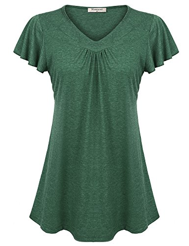 Nomorer Fit and Flattering Tops for Women, Ladies Flutter Sleeve Pleated Curve Hem Flowy Blouses (Green S) (Flutter Pleated Sleeve Tops)