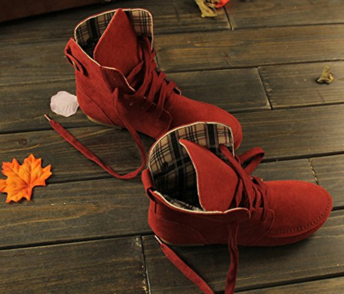 Toe Fashion Casual Flat Round Red Leather Lace Flat Maybest Shoes Women Martin Plaid Autumn Ancke Color Up Boots Solid xtAg7w