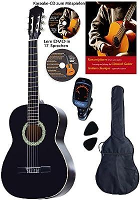 Guitarra de concierto 4/4, negra, con diapasón y puente de ...