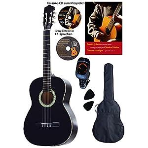 Konzertgitarre 4 4, schwarz, Rosewood Griffbrett und Brücke, Fichtendecke, Lern DVD, Karaoke CD, Songbook, gepolsterte…
