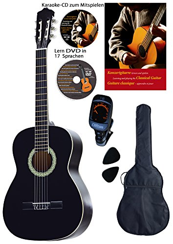 Konzertgitarren-Set, schwarz, Lern DVD, Karaoke CD, Songbook, gepolsterte Tasche, Plectren, Fichte, Rosenholz, Stimmgerät