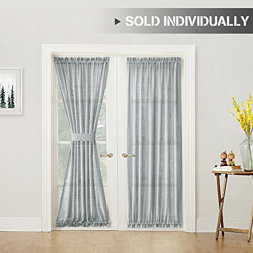Pattern Door - Linen Textured French Door Panel 72 inch Length French Door Curtains and a Bonus Tieback Grey Sheer Curtains for French Doors, 1 Panel, Gray