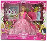 Saffire Cute Doll with Style Wardrobe Fashionable Accessories Clothes,Crown for Baby Girls