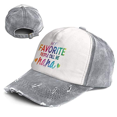 Fashion Vintage Hat My Favorite People Call Me Nana Adjustable Dad Hat Baseball Cowboy Cap Gray