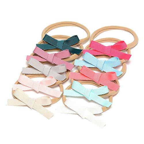 Petite Ribbon Bow Nylon Headband Grosgrain Ribbon Bow Hair Band For Babys Pack of 10pcs (MSNH033)
