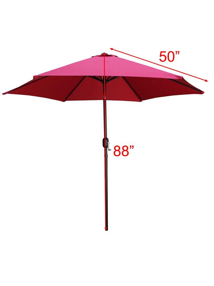 TMS Beach Umbrella Aluminum Outdoor 8ft Crank Tilt Sunshade Cover Beach Patio Market Umbrella,Burgundy
