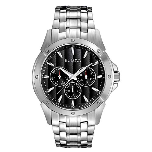 Bulova Men's 96C107 Black Dial Stainless Steel Watch ()