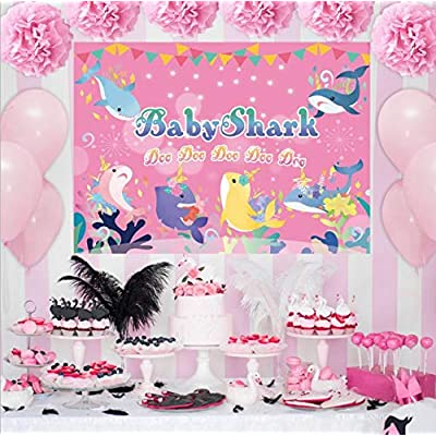 Fabric 5x3ft Pink Baby Shark with Unicorn Heavy Duty Banner Background Prop Baby Shark Happy Birthday Banner for Girl Party Photography Backdrops Decorations of Ocean: Toys & Games