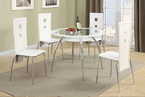 Poundex F2210 & F1276 White Painted Glass & Leatherette Chairs 5 Piece Dining Set