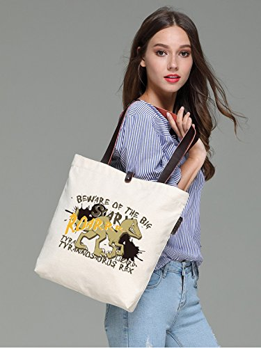 So'each Women's Dinosaurs Letters Graphic Canvas Handbag Tote Shoulder Bag