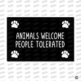 MsMr Entrance Floor Mat Funny Doormat Animals Welcome People Tolerated Door Mat Outdoor Indoor Rubber Mat Non-woven Fabric Top 18''x30''