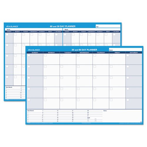 - 30/60-Day Undated Horizontal Erasable Wall Planner, 48 x 32, White/Blue,, Sold as 1 Each