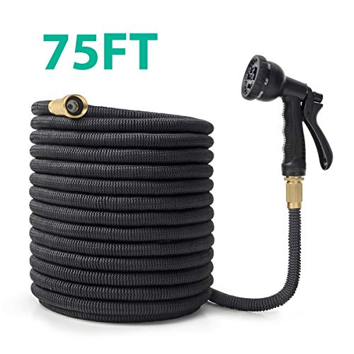 OWSOO Garden Hose, 75 FT Water Hose with 3/4″ Solid Brass Fittings, Durable Flexible Garden Hose with Double Latex Core, 8 Functions Sprayer, Extra Strength Fabric, Expandable Hose for Gardening