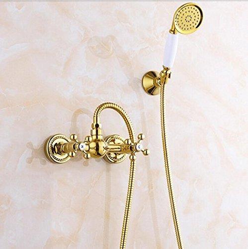 GOWE Luxury Golden Dual Handles Shower Set Faucet Wall Mount with Brass Handshower Mixer Tap + Bracket 0